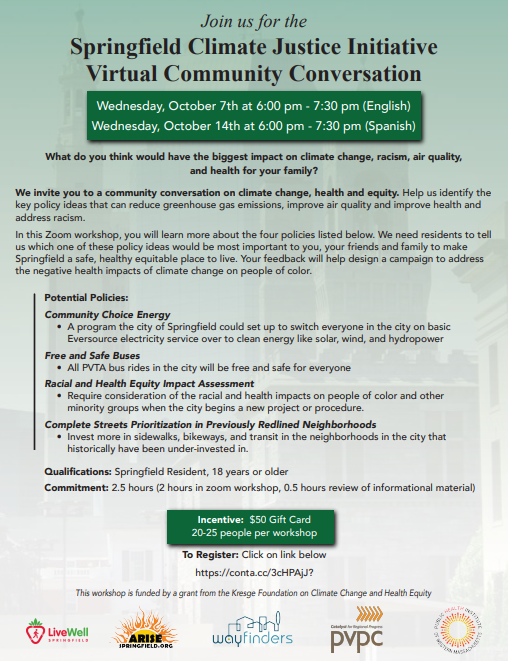 Springfield Climate Justice Initiative Virtual Community Conversation, 10/7 at 6:00pm