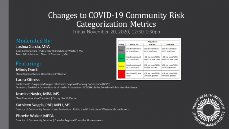 Recording Now Available from 11/20 Webinar about Changes to the MA COVID-19 Metrics
